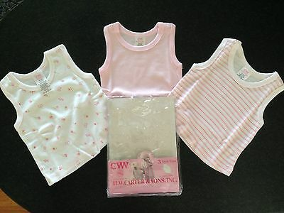 BNIP Baby Girls 0 HW Carter & Sons 3 Pack Soft Cotton Pink/White Singlet Tops