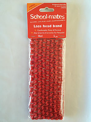 BNIP Girls School Mates Brand Smart Red Stretch Lace Head Band Hair Tie