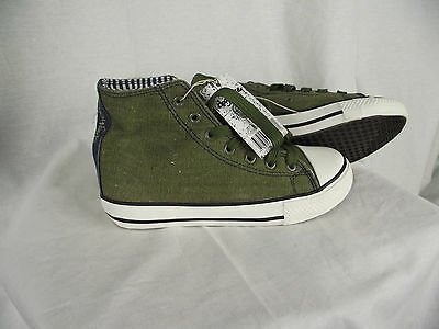 BNWT Older Boys Sz 1 Rivers Doghouse Brand Super Cool Khaki Green High Top Boots