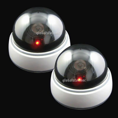 2x Wireless Fake Outdoor Home Dummy Dome Security Surveillance Camera LED Light