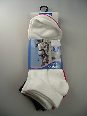BNWT Girls Pack of 5 Cute Mixed Colours Ankle Socks Size 9-12 Age 5-8 Years