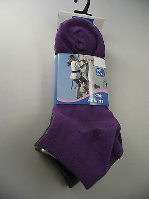 BNWT Girls Pack of 5 Purple/Grey/White Ankle Socks Size 13-3 Age 8-10 Years