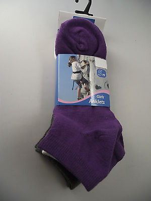 BNWT Girls Pack of 5 Purple/Grey/White Ankle Style Socks Size 2-7 Age 10+ Years