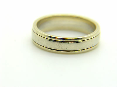 Ladies 9ct Yellow and White Gold Wedding Band Size M-4.3g