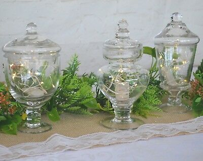 Glass Vases Mini Candy Apothecary Jars x 3 Wedding Table Centrepiece Vintage