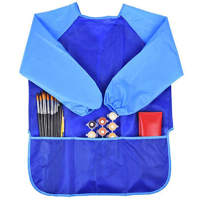 3-6Y Child Kids Waterproof Sleeved Pinafore Art Smock Apron For Painting Drawing