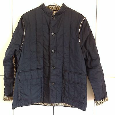 AQUASCUTUM! vtg Navy Blue Quilted Padded Country Jacket Blazer - medium mens