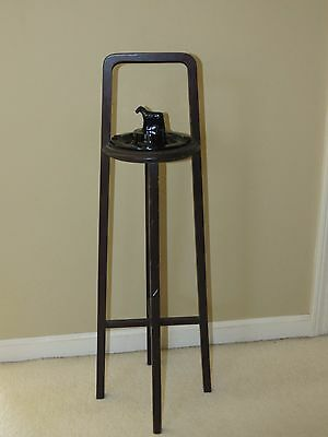 Vintage Arts & Crafts Era Wooden Ashtray Stand W/ Black Art Glass Scottie Dog