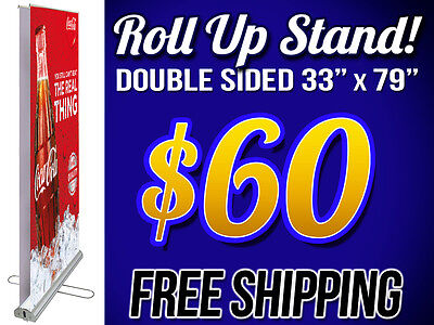 Retractable Double Sided Roll Up Stand Display Trade Show Exhibition & SHIPPING