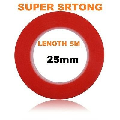 25 mm Red Double Sided Adhesive Sticky Tape Easy Lift Super Strong Length 5 M