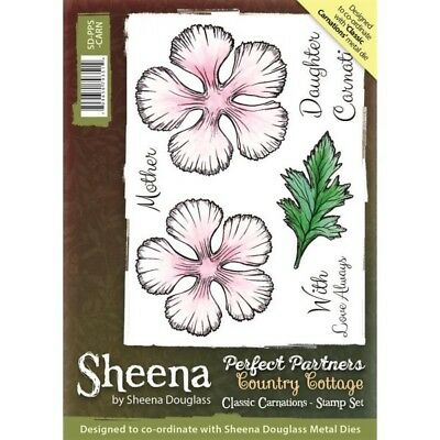 Sheena Perfect Partners Country Cottage Classic Carnations A6 Unmounted Rubber S