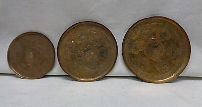 Set of 3 Small Antique Brass Plates with Nice Engraved Designs