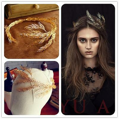 Vintage Wedding Bridal Gold Hair Accessories Jewelry Queen Crown Tiara Headband
