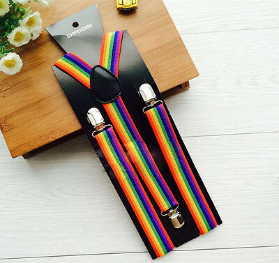 Y-Back Men Women Rainbow Stripe Pants Clip Brace Adjustable Elastic Suspenders