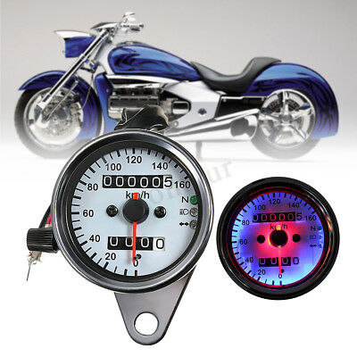 Universal Motorcycle Dual Odometer Speedometer Speed Gauge LED Signal Back Light