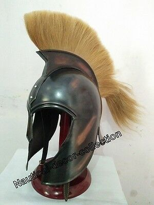 "Brass Troy Medieval ""greek""armor Helmet Armour Black Antique With Yellow Plum"