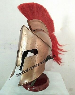 Brass Medieval Greek Corinthian Helmet with Red Plume, Crusader Spartan Helmet