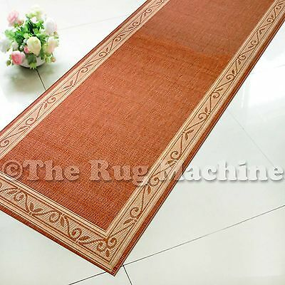 SUMMER INDOOR/OUTDOOR SCROLL TERRA RED MODERN RUG RUNNER 67cm WIDE **ANY LENGTH*