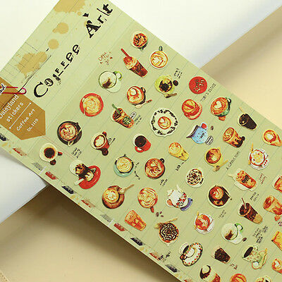 1 sheet coffee art Scrapbook Calendars notebook diary Planner Decoration sticker