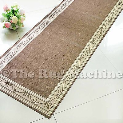 SUMMER INDOOR/OUTDOOR SCROLL BEIGE MODERN RUG RUNNER 67cm WIDE **ANY LENGTH**