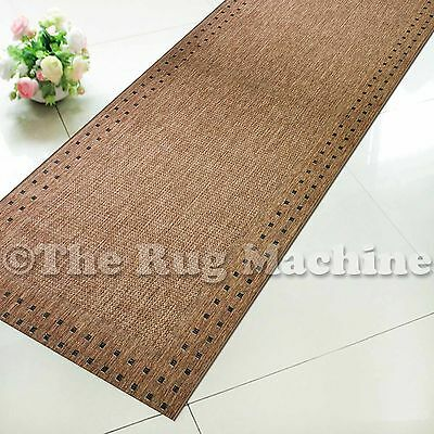 SUMMER INDOOR/OUTDOOR BORDER DARK BROWN MODERN RUG RUNNER 67cm WIDE **ANY LENGTH