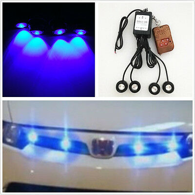 4 Pcs LED Hawkeye Blue Offroad Rear Counterattack Reverse Lamps Strobe Light DRL