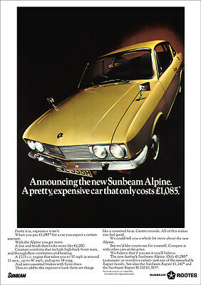 Sunbeam Alpine Fastback Coupe Retro A3 Poster Print From 60's Advert
