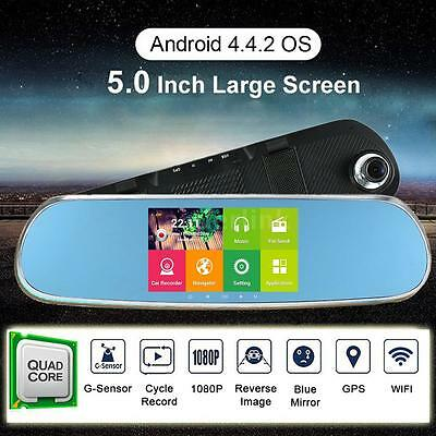 """5"""" HD Android 4.4 GPS Nav Auto Car Rearview Mirror DVR Camera WIFI Free Map C5X7"""