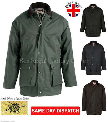 Mens Padded Wax Cotton Jacket With Hood Coat HUNTING FISHING HIKING COUNTRY UK