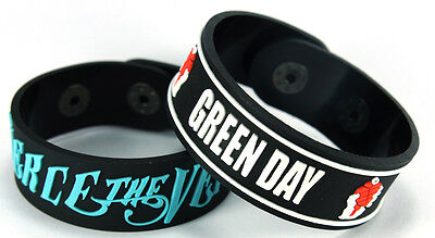 PIERCE THE VEIL GREEN DAY NEW! 2pcs(2x) Rubber Bracelet Wristband ww78