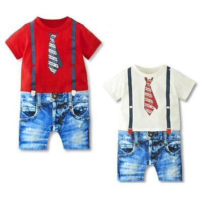 Newborn Infant Baby Boy Kids Cotton Gentleman Jumpsuit Romper Onesie Playsuit