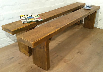 X2 6FT Pair Solid Reclaimed Pine Dining Table BENCHES Village Orchard Furniture