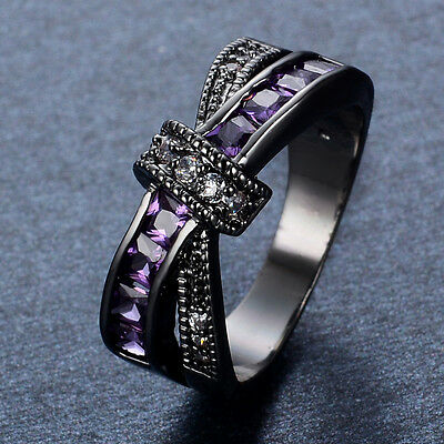 Princess Cut Lab Purple Amethyst Engagement Ring CZ Black Gold Filled Cross Band