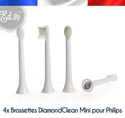 4 Brossettes Sonicare Diamond Clean Mini compatibles brosse à dents Philips