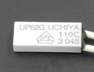 UCHIYA UP62G Thermal Protector OPEN 110C, CLOSED 80C - Lot of 3