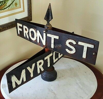 Victorian Antique Indian Orchard Cotton Mills Textiles Cast Iron Street Sign