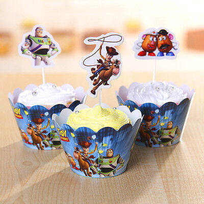 Toy Story Cupcake Wrappers & Toppers Pack Of 12 Birthday Party Supplies