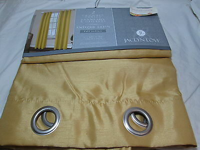 JL Jaclyn Love Antique Satin Fall Yellow Grommet Panels Two-(40x84) - Lite Gold