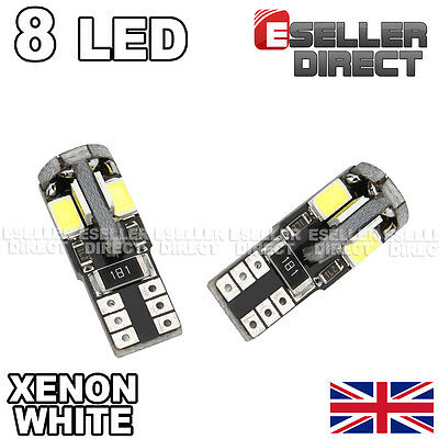1 X Pair 8 Smd Led Canbus Error Free 501 W5W T10 Sidelight Bulbs 6000K White