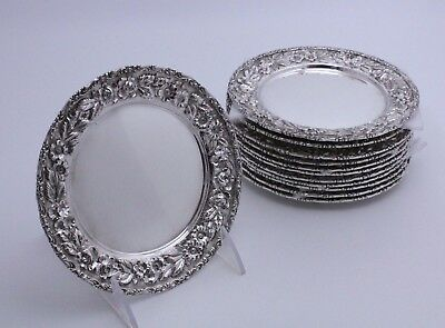 Baltimore Silversmiths Repousse Sterling Silver Bread Plates Set of 12