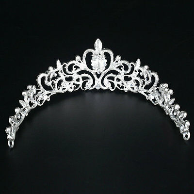 Bridal Princess Austrian Crystal Tiara Wedding Crown Veil Hair Accessory SL