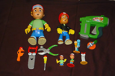 "12pc Handy Manny Figure & Tool Lot 9"" Talking Figure!! Toy Nailer W/ Sounds"
