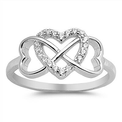 Sterling Silver 925 INFINITY HEART LOVE CLEAR CZ DESIGN PROMISE RING SIZES 4-12
