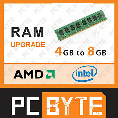 PCByte Computer System Memory RAM Upgrade 4GB DDR4 to 8GB DDR4