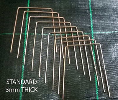 100 x 3mm standard copper ground cover weed fabric fixing staples (GCS719)