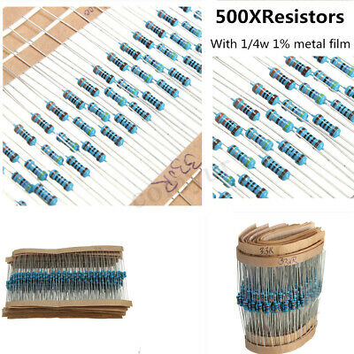 500pcs 1/4w 0.25W 1% Metal Film Resistor Resistance Kit Mix Assortment 25 Values
