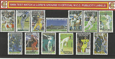 ENGLAND MCC 100th LORDS TEST MATCH CRICKET PUBLICITY LABELS STAMP PACK Set of 13