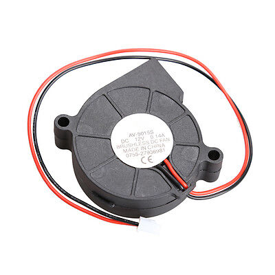 Black Brushless DC Cooling Blower Fan 2 Wires 5015S 12V 0.14A 50x15mm
