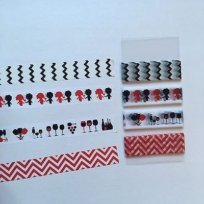 Washi Tape Sample / 4 designs / 15mmx1m / black, red, chevron, glasses, couples