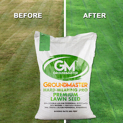 GroundMaster HardWearing Tough Garden Premium Back Lawn Grass Seed Various Sizes